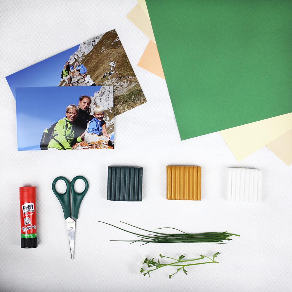 Material für die Kieselsteinvase mit Fotostecker